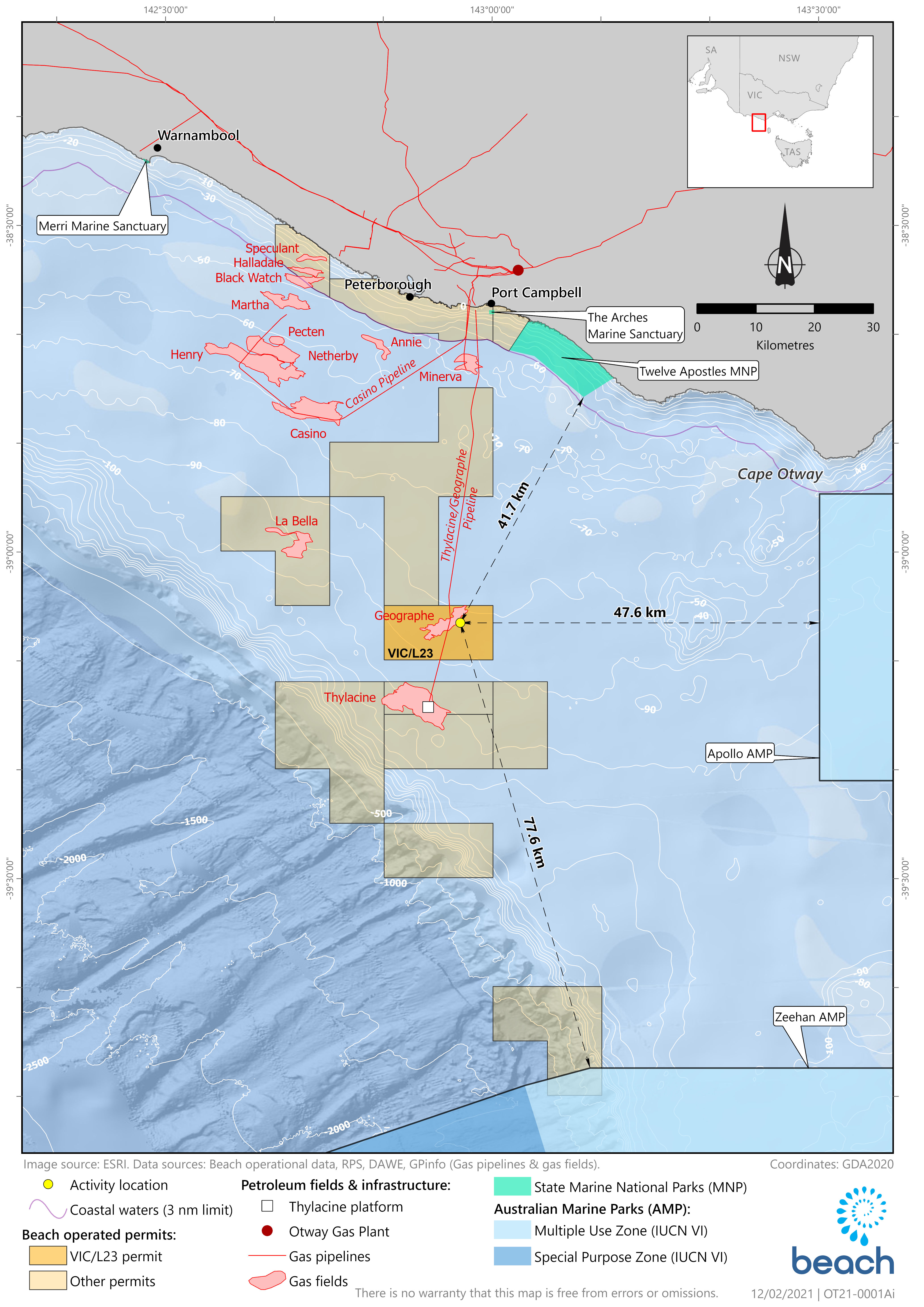 Location map - Activity: Geographe Subsea Installation & Commissioning (refer to description)